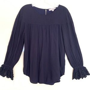 LOFT Navy Blue Eyelet Lace Blouse w/ Flared Sleeve